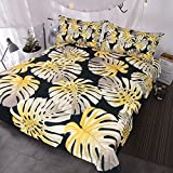 BlessLiving 3 Piece Black and Gold Tropical Leaf Bedding, Sparkling and Shiny Plant Bedspread, Monstera Palm Leaves Duvet Cover (Twin)