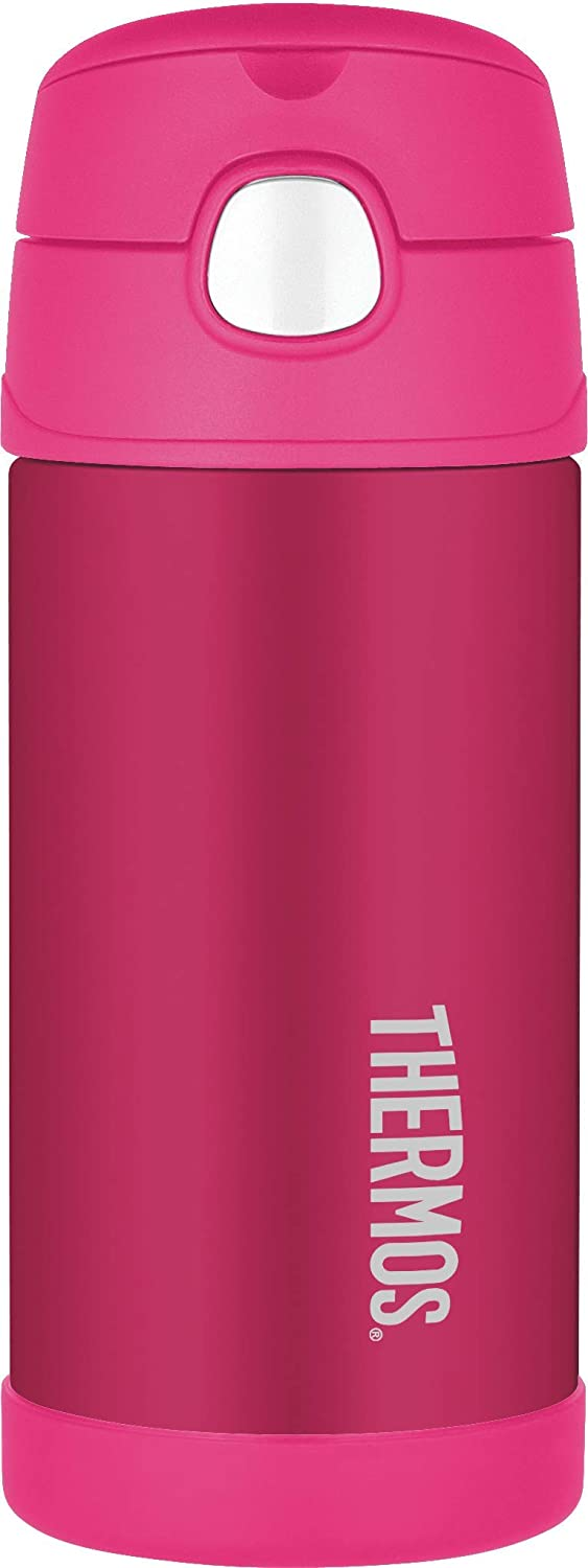 THERMOS Acero Inoxidable FUNtainer Botella de Paja, 355 ml, Color Rosa