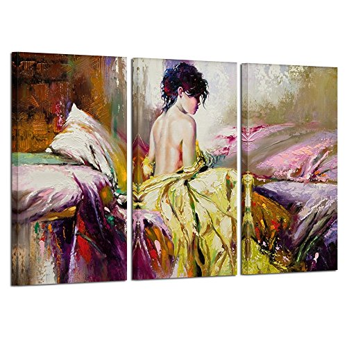 Blue Lady Painting - Kreative Arts 3 panel Sexy Woman Printed Painting on Canvas Wall Art Nude Prints Picture for Living Room Home Decorations or Hotel Salon Ready to Hang 16x32inchx3pcs