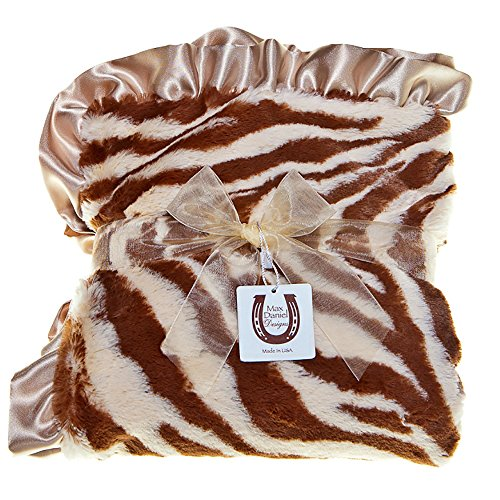 Blanket Receiving Print Zebra - Max Daniel Child Tan Zebra Blanket - Double Sided - Satin Ruffle 1187