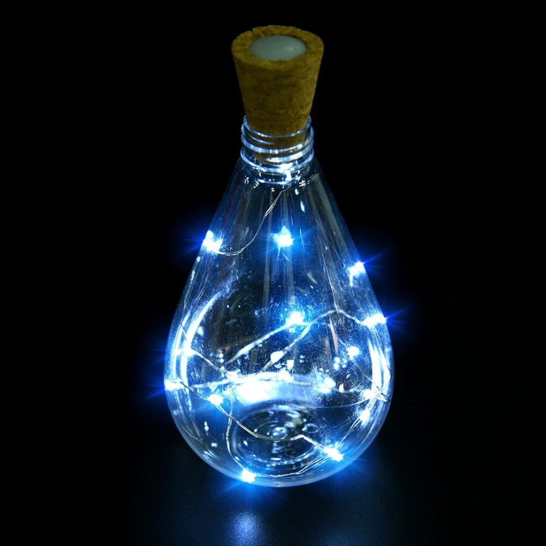 Coohole Cork Shaped 15 LED Night Light Starry Lights Wine Bottle Lamp For Christmas Xmas Party Colorful Lights (B)