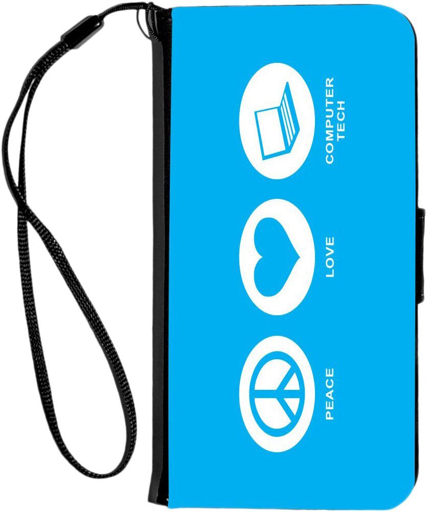 Rikki Knight Peace Love Computer Tech Design iPhone 6 & 6s PU Wallet Flip Case - Sky Blue