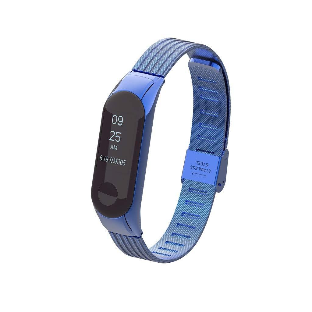 Finedayqi ❤ Luxury Stainless Steel Metal Wrist Strap Wristband for Xiaomi Mi Band 3 Watch (Blue)
