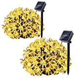 Cheap Qedertek 2 Pack Solar Christmas String Lights, 21ft 50 LED Fairy Flower Blossom Christmas Decorative Lighting for Outdoor, Home, Lawn, Garden, Patio, Party and Holiday Decorations(Warm White)