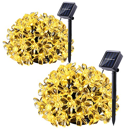 Qedertek 2 Pack Solar Christmas String Lights, 21ft 50 LED Fairy Flower Blossom Christmas Decorative Lighting for Outdoor, Home, Lawn, Garden, Patio, Party and Holiday Decorations(Warm White) (Decorative Outdoor String Lighting)