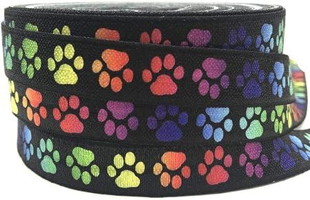 Material: SPANDEX NYLON,Tamaño: 5/8,PATRÓN: huella de perro y oso,15mm Colorido Perro y Oso Huella I