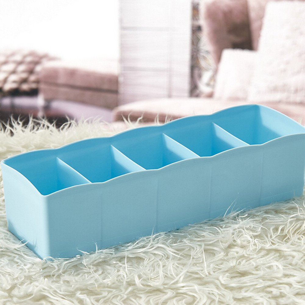 DATEWORK 5 Cells Plastic Organizer Storage Box Tie Bra Socks Drawer Cosmetic Divider Tidy