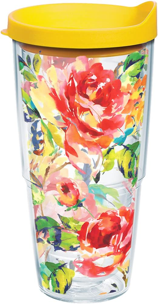 Tervis Fiesta - Floral Bouquet Tumbler with Wrap and Yellow Lid 24oz, Clear