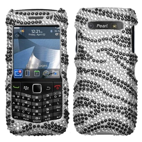 Asmyna BB9100HPCDM010NP Dazzling Luxurious Bling Case for BlackBerry Pearl 3G 9100/9105 - 1 Pack - Retail Packaging - Black Zebra - Pearl Blackberry Faceplates