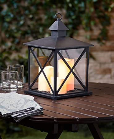Outdoor Triple Candle Lantern With Timer (Black)