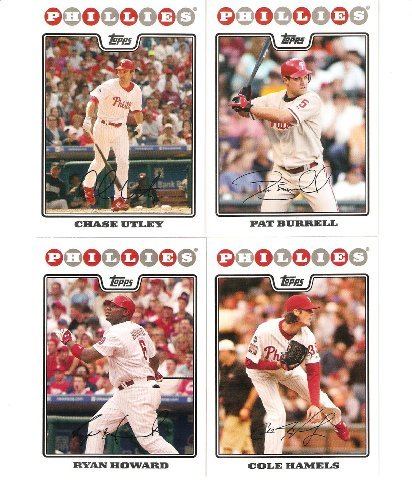 2008 Topps Philadelphia Phillies Complete Team Set ( 22 - Baseball Cards from both Series 1 & 2) Includes Chase Utley, Jimmy Rollins, Ryan Howard and more - Utley Chase Phillies