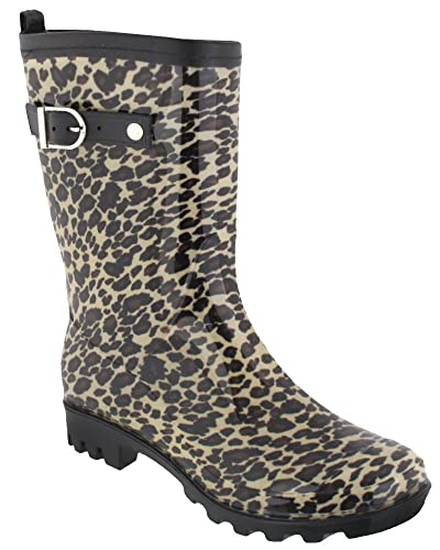 Capelli New York Ladies Leopard Printed Short Jelly Rain Boot Natural Combo  6