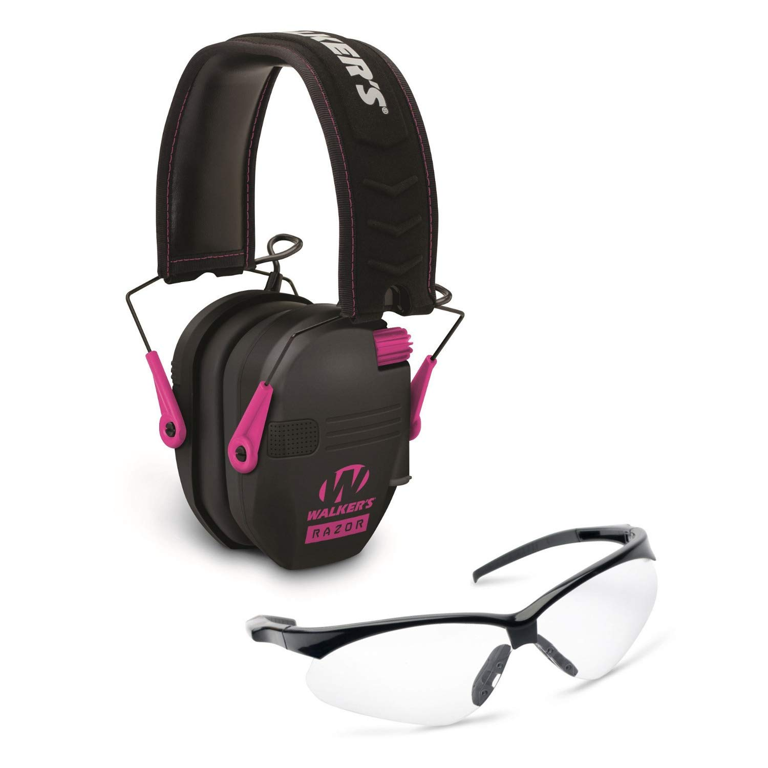 Walkers Razor Slim Electronic Hearing Protection Muffs with Sound Amplification and Suppression and Shooting Glasses Kit, Black/Pink by Walkers (Image #1)