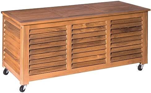 Baúl de jardín de Acacia marrón para terraza y Exterior Garden - LOLAhome: Amazon.es: Jardín