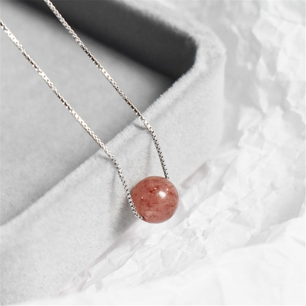KOMO Women s925 sterling silver strawberry Crystal Necklace female minimalist jewelry pink crystal and versatile short of clavicle chain Pendants