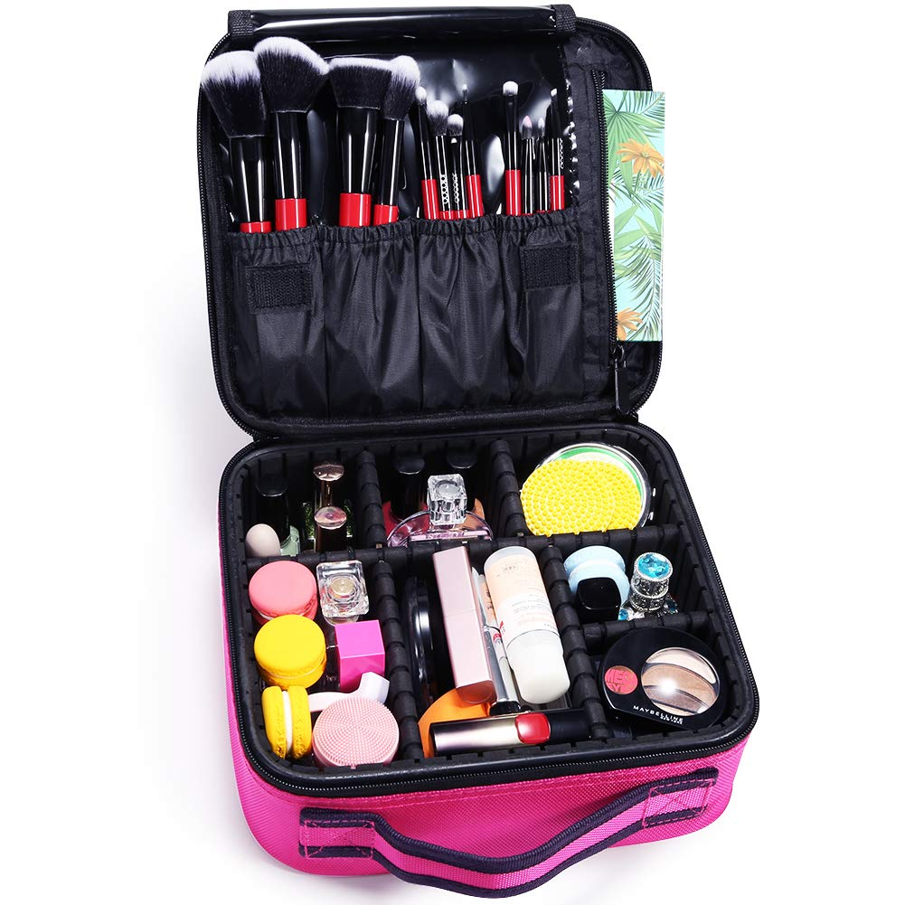 Docolor Makeup Train Cases Cosmetic Case Professional Travel Makeup Bag Organizer Portable Makeup Artist Storage Bag for Cosmetics Makeup Brushes Toiletry Travel Accessories