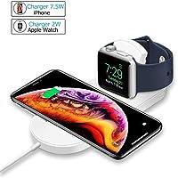 MASOMRUN Cargador Inalámbrico Rápido 2 en 1 para iPhone XS,Apple Watch4 / 3/2 / 1,Soporte de Carga Inalámbrico Pad para iWatch/iPhone y Samsung Galaxy Note8/Note5/S9/S9/S8/S8 Plus/S7/S7 Edge