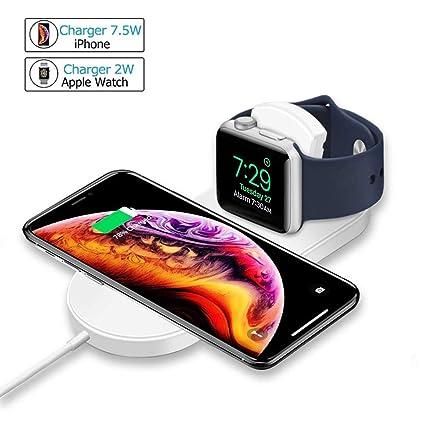 MASOMRUN Cargador Inalámbrico Rápido 2 en 1 para iPhone XS,Apple Watch4 / 3/
