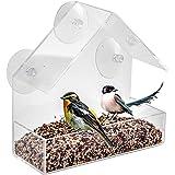 LANSCOERY Clear Acrylic Window Bird Feeder with Suction Cups, High Seed Capacity for Outdoors Wild Birds, Finch, Cardinal and Bluebird (House Feeder)