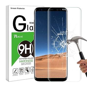 7ca6c94250e Protector de Pantalla para Galaxy S8, Rusee 9H Protector de Pantalla de 3D  S8 Cristal Vidrio Templado sin Burbujas, Ultra-claro, Anti-Scratch para  Samsung ...