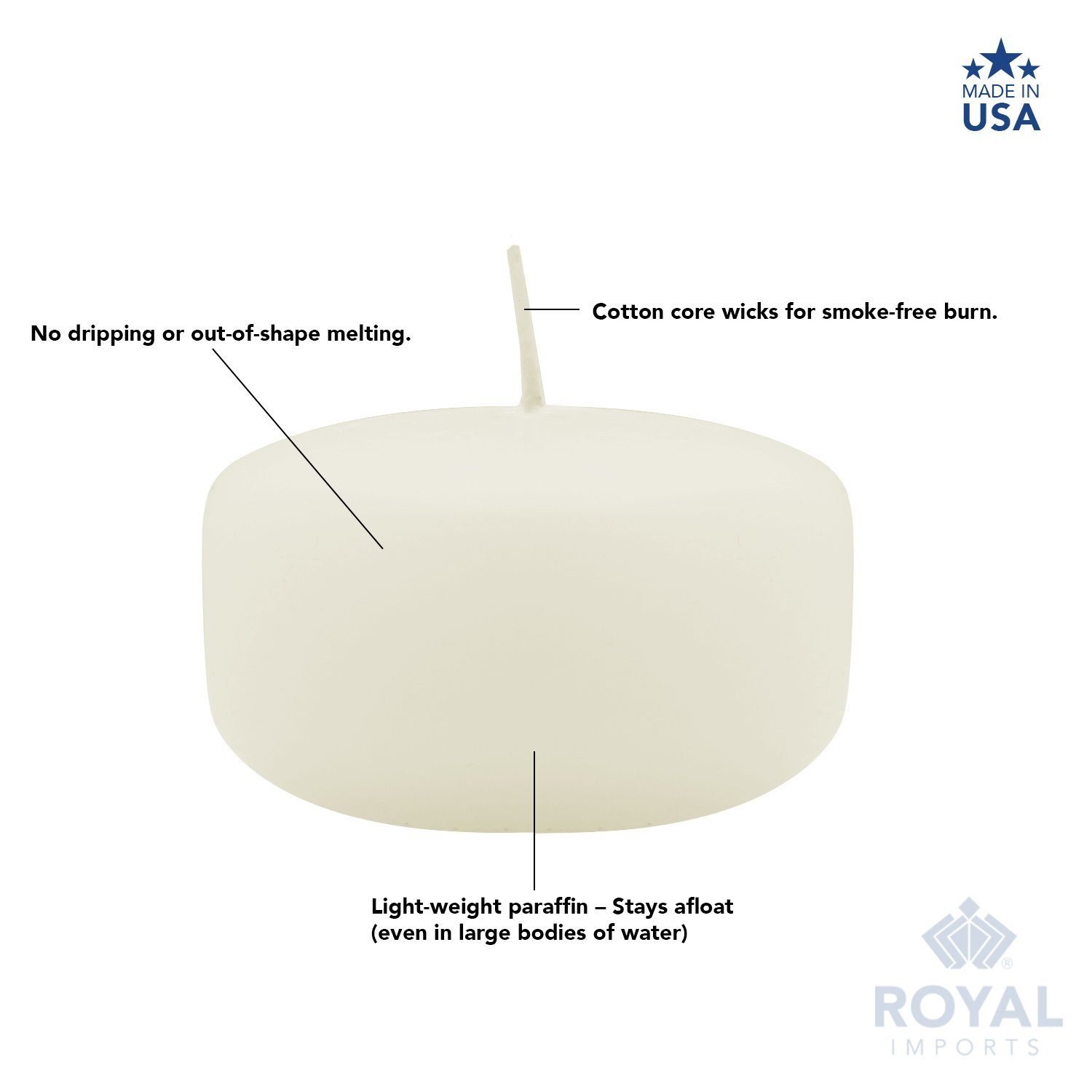 Royal Imports Floating disc Candles for Wedding, Birthday, Holiday & Home Decoration, 2 Inch, Ivory Wax, Set of 72 by Royal Imports (Image #4)