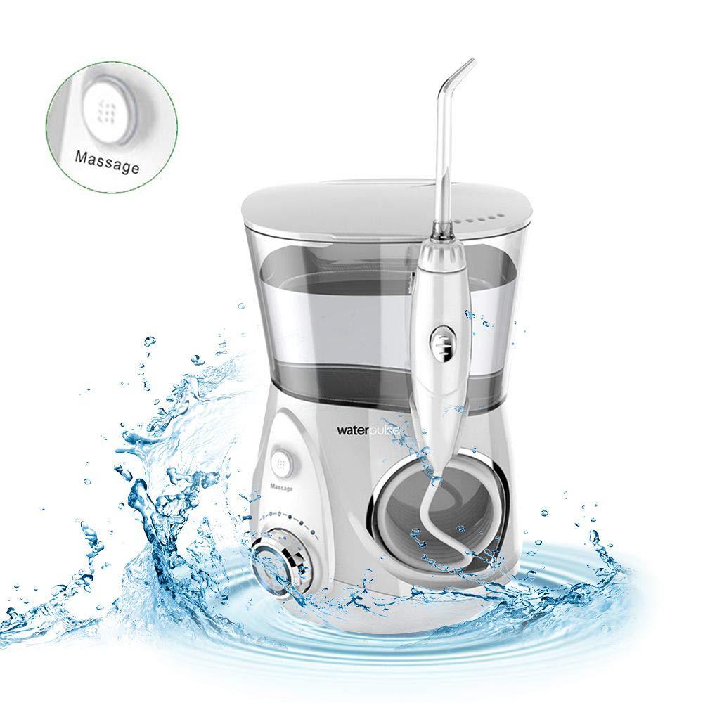 Waterpulse Water Flosser Gum Massage, Professional Ultra Cordless Dental Oral Irrigator Multi Modes 700ml Water Tank Family Care FDA Approve.