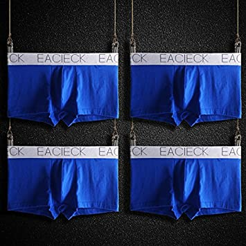 Hombre Bóxer Set Ropa Interior Calzoncillo 4-Pack Oriente Cintura Ángulo Plano Algodón Blue Large