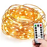 Kohree 120 Micro LEDs Christmas String Lights Battery Powered 40ft Long Ultra Thin String Copper Wire Lights with Remote Control and Timer Perfect for Weddings,Party,Bedroom,Xmas-2C Batteries powered