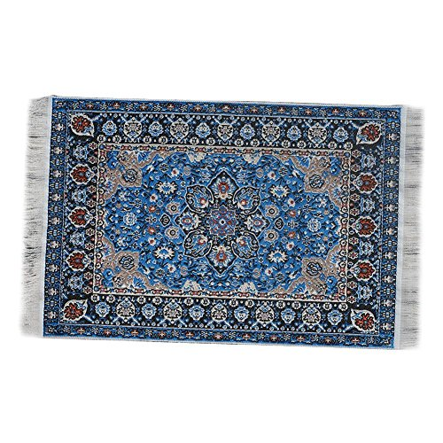 Gracefulvara 1:12 Blue Floral Print Vintage Woven Carpet Rug Blanket Miniature Dollhouse