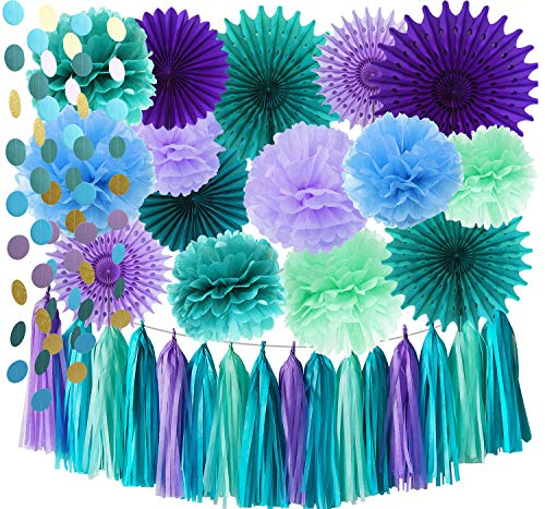 Under The Sea Party Supplies/Mermaid Decorations Teal Purple Blue Mint Tissue Pom Poms Tissue Paper Fans Baby Shower Decorations Purple Mermaid Birthday Party Supplies/Mermaid Bridal Shower Decor ()