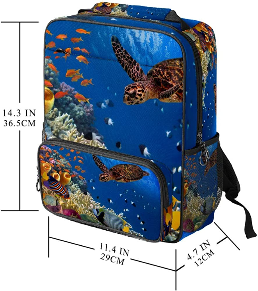 Colorful Coral Reef with Many Fishes and Sea Turtle School Backpack Laptop Backpacks Casual Bookbags Daypack for Student Girls Boys