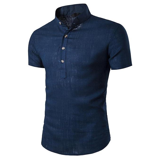 ALIKEEY Hombre Stand Cuello Manga Corta Daily Look Camisas De Lino Tops Blusa Botones Tela AlgodóN para Hombres Tendencia Jugador T-Shirt Digital Cool Juego ...