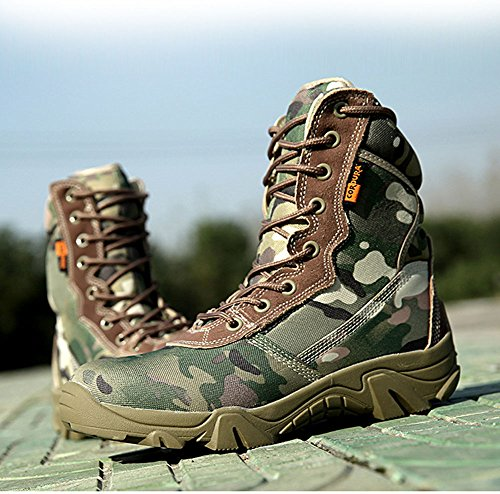 Worldshopping4U Men Military Army Tactical Outdoor Sports Camping Hiking Work Combat Lace Up Breathable High Top Side Zipper Desert Leather Shoes Boots Black MC zLhoPx