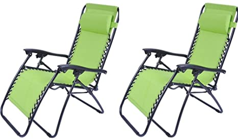 Outsunny Zero Gravity sillón reclinable salón Patio piscina silla – 2 unidades