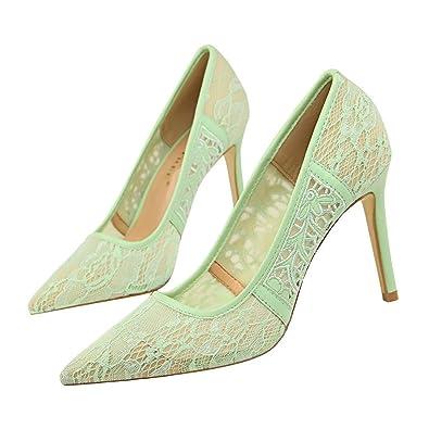 MONAcwe High Heel Lady Sexy Spitz Nackt Slip-on Spitze Mesh Gesicht Kleid Kleid Schuhe Stiletto Heels, Khaki, 37