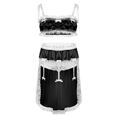 aeaccc6109158 ACSUSS Men's Sissy Lingerie Set Shiny Satin Lace Bra Top with Skirted  Panties Nightwear