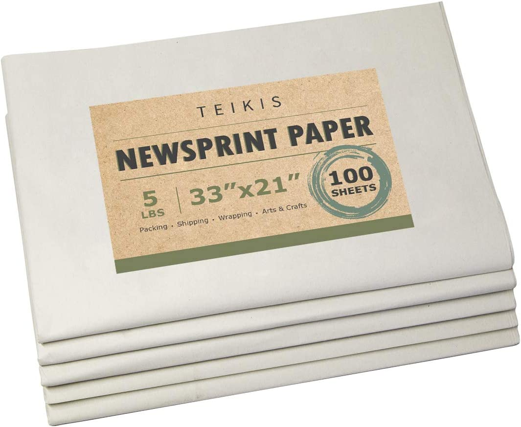 TeiKis Clean Newsprint Packing Paper Unprinted - 100 Sheets, 5 lbs, 33 x 21 inch for Moving, Packing and Storing 618KD-dLANL