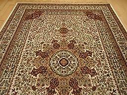 Silk Ivory Rug Persian Style Tabriz Rug 5x8 Living Room Rugs 5x7 Ivory Cream Carpet Area Rugs Traditional Luxury Rugs High End Silk Rugs (Medium 5\'x8\')