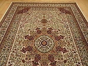 Silk Ivory Rugs Persian Tabriz Rug 7x10 Living