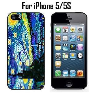 8 Bit Starry Night Custom Case/ Cover/Skin *NEW* Case for Apple iPhone 5/5S - Black - Rubber Case (Ships from CA) Custom Protective Case , Design Case-ATT Verizon T-mobile Sprint ,Friendly Packaging - Slim Case