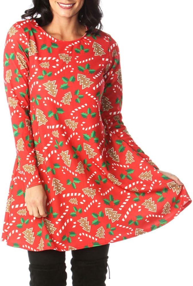 ASHOP Talla Grande Vestido con Estampado navideño de Santa con ...