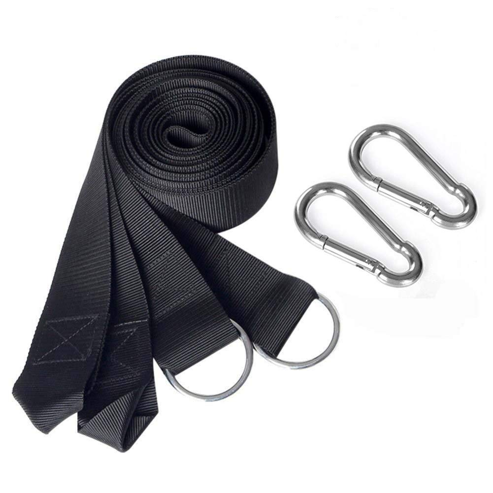 10ft Tree Swing Hanging Kit, Holds 440 lbs, 2 Heavy Duty Carabiners Included, Outdoor Swing Hangers-Perfect for Hammocks, Tire and Saucer Swings with Easy Installation