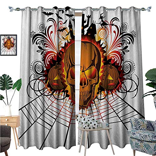 BlountDecor Halloween Room Darkening Wide Curtains Angry Skull Face on Bonfire Spirits of Other World Concept Bats Spider Web Design Customized Curtains W96 x L84 Multicolor