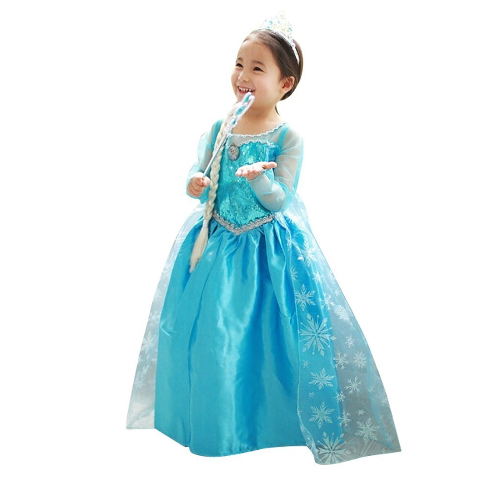 loel Princess Inspired Girls Snow Queen Party Costume Dress (3-4years)