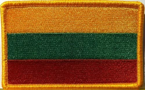 "LITHUANIA FLAG 2 1//2/"" IRON ON EMBROIDERED PATCH FLAG OF LITHUANIA"