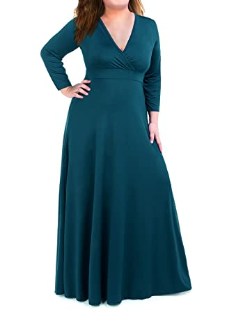Plus Size Maxi Dress for Women with 3/4 Sleeve Deep V Neck Solid ...