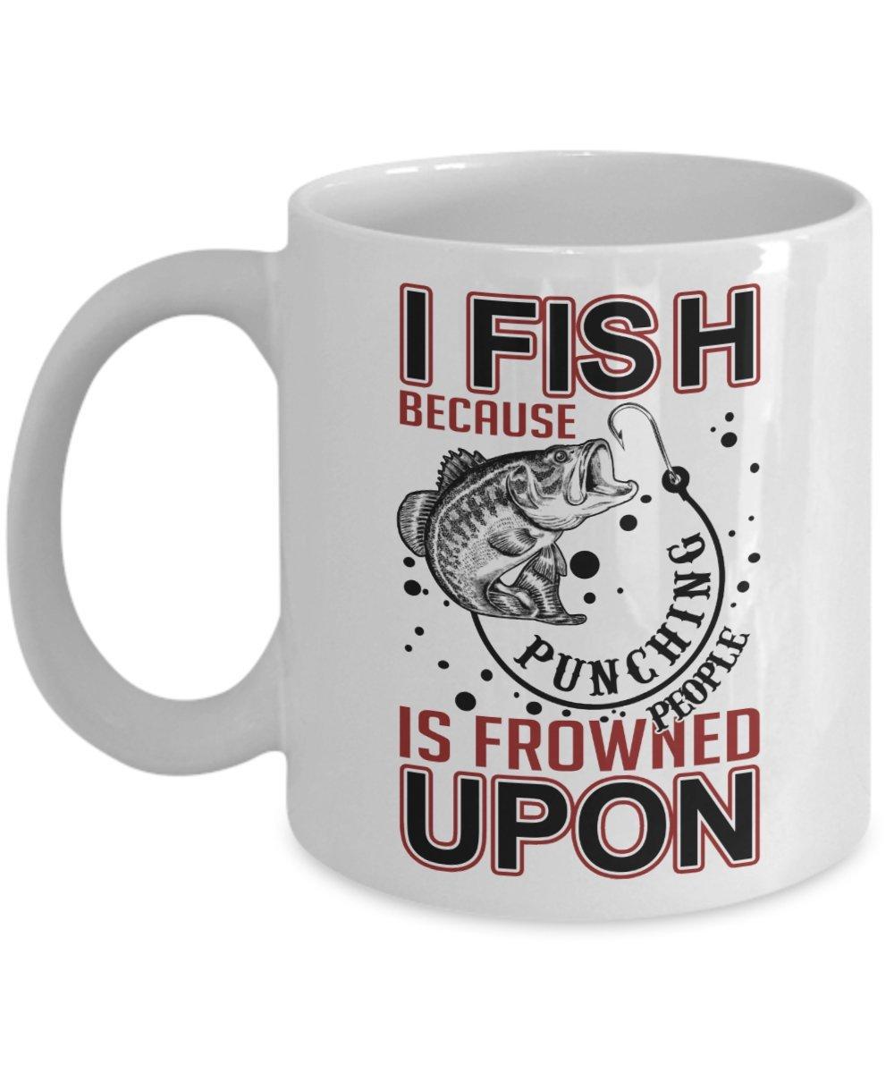 Kiwiスタイル釣りコーヒーマグ – I Love Fishingセラミックマグ – I FishためPunching人はFrowned Upon | Best誕生日、クリスマスのプレゼント釣りLover、おじいちゃん、Dad - 11オンス、ホワイト   B075L44N9R