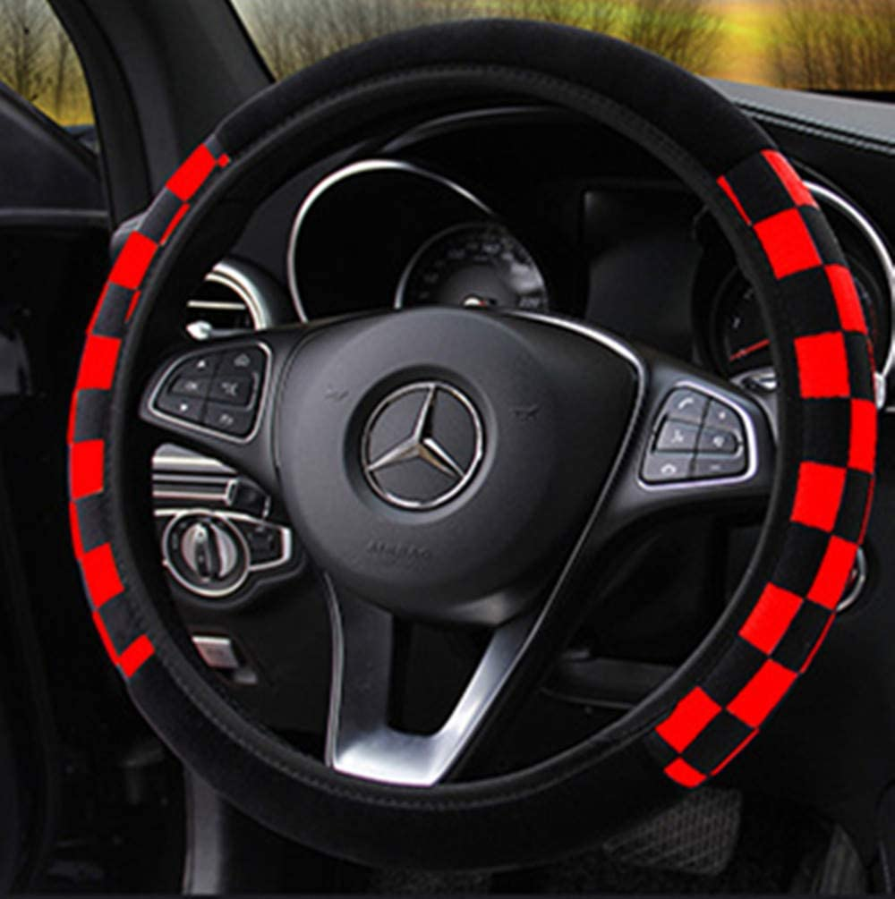 Odorless Keep Warm Anti-Slip Black and Red Breathable ZHOL Universal 15 inch Steering Wheel Cover Elastic Plush