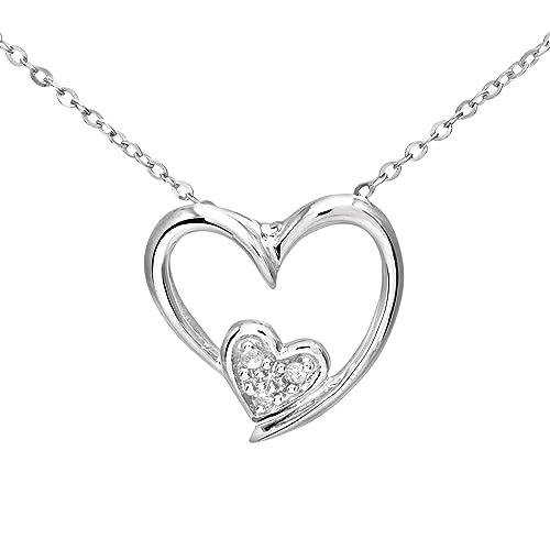 7e1430f17f Naava Collana con Pendente da Donna, Oro Bianco, Diamante, Rotondo