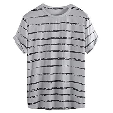 01c42ec535 Amazon.com: Big Size Loose Stripe t Shirts Men,Donci Simple Comfort Short  Sleeve Casual Tees Colorful Summer Hawaii Holiday Tops: Clothing